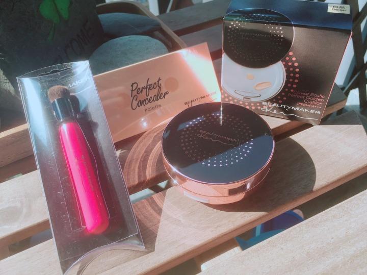 美妝開箱推薦:Beauty Maker 魚子氣墊粉餅+若無其飾全效遮瑕盤